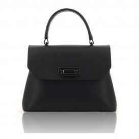 Black Ruga Leather Handbag With Detachable Strap
