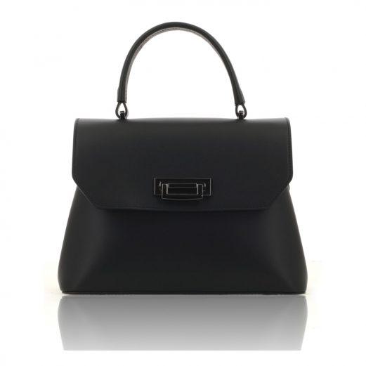 Black Ruga Leather Handbag With Detachable Strap
