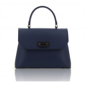 Blue Ruga Leather Handbag With Detachable Strap