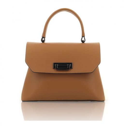 Cognac Ruga Leather Handbag With Detachable Strap