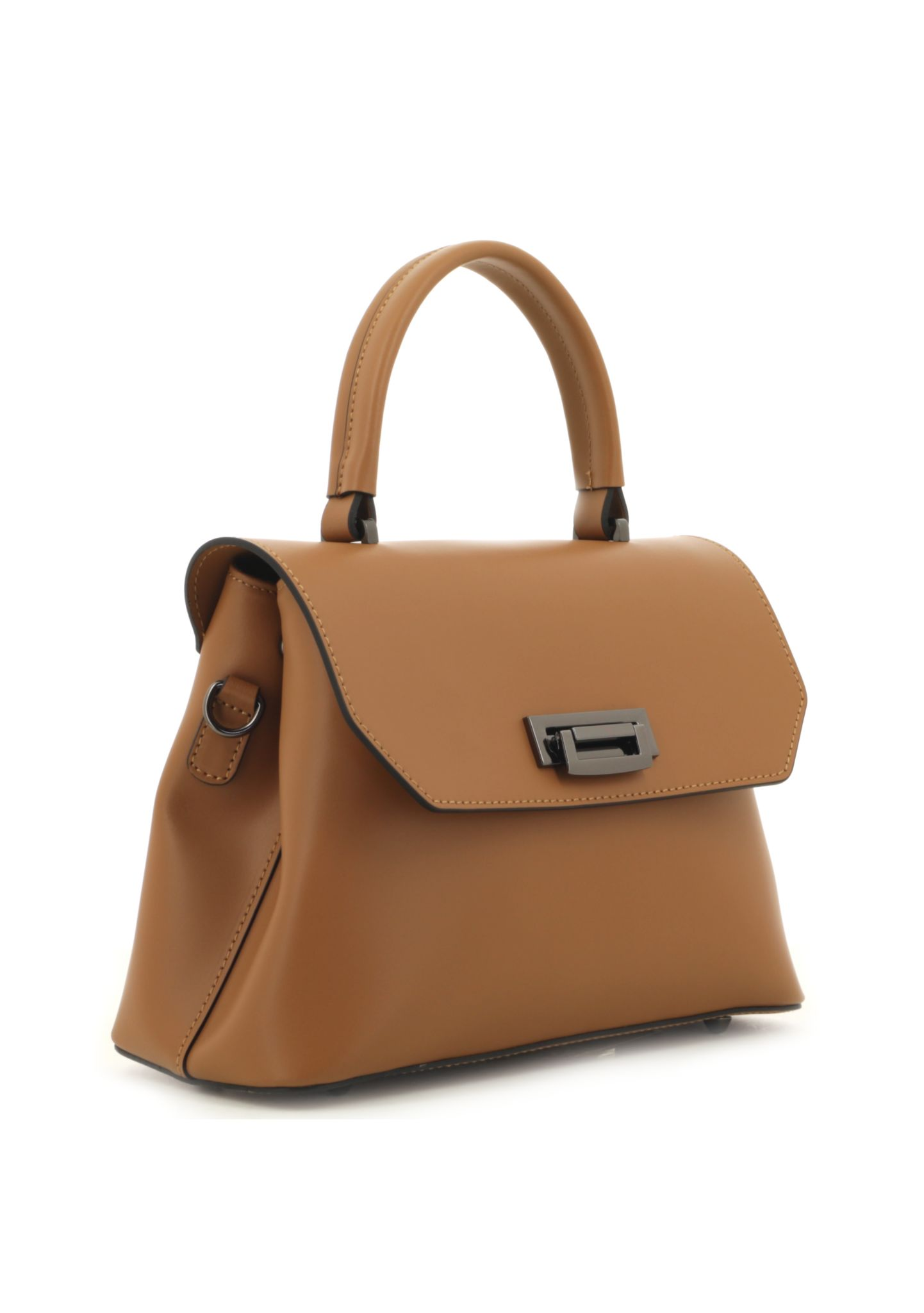 Cognac Ruga Leather Handbag With Detachable Strap 034 detail 1