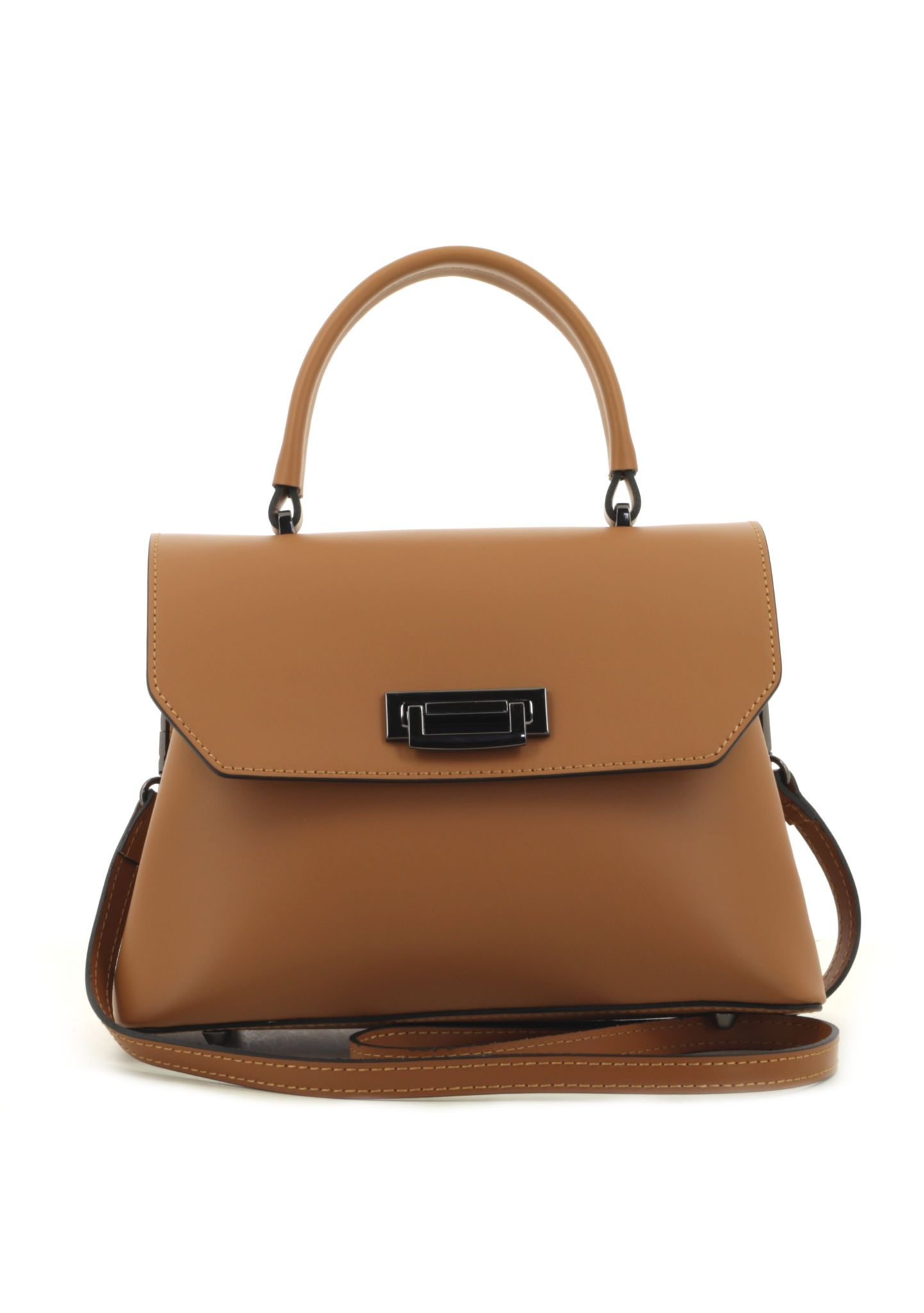 Cognac Ruga Leather Handbag With Detachable Strap 034 detail 6