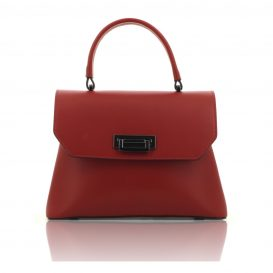 Red Ruga Leather Handbag With Detachable Strap