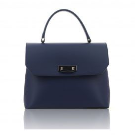 Dark Blue Ruga Leather Handbag With Detachable Strap - Large Size