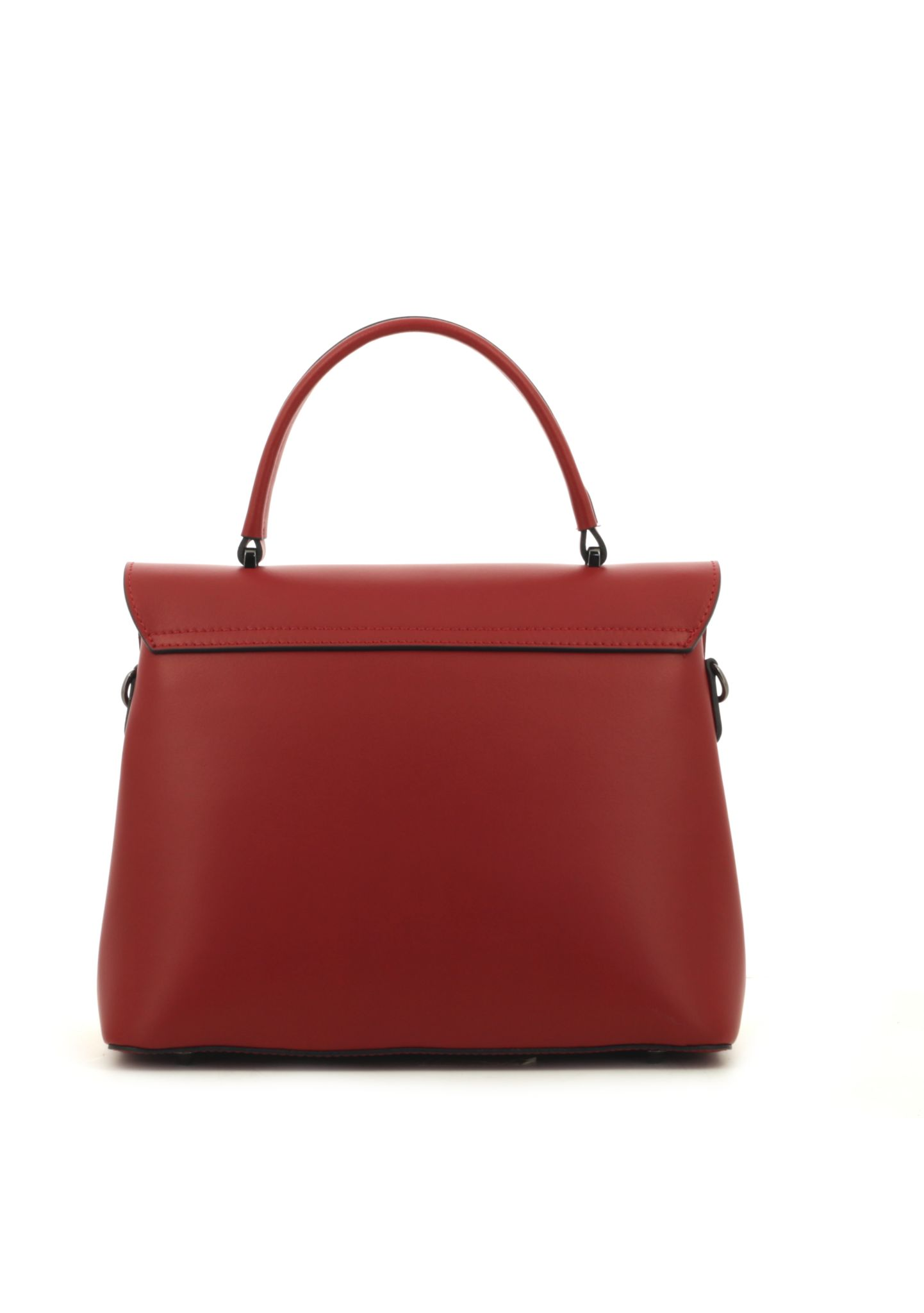 Red Ruga Leather Handbag With Detachable Strap - Large Size 035 detail 3