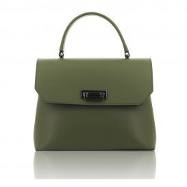 Olive Green Ruga Leather Handbag With Detachable Strap - Large Size