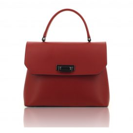 Red Ruga Leather Handbag With Detachable Strap - Large Size