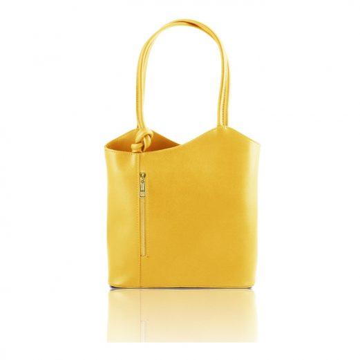 イタリア製PATTY サフィアーノレザー・リュック&ショルダー2way バッグ、イエロー、レモンイエロー、黄色