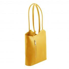 イタリア製PATTY サフィアーノレザー・リュック&ショルダー2way バッグ、イエロー、レモンイエロー、黄色、詳細1