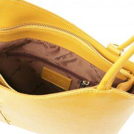 イタリア製PATTY サフィアーノレザー・リュック&ショルダー2way バッグ、イエロー、レモンイエロー、黄色、詳細3