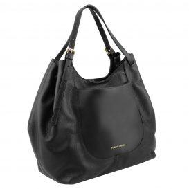 イタリア製CINZIA 柔らかいカーフレザーのショルダーバッグ、ブラック、黒、詳細1