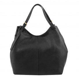 イタリア製CINZIA 柔らかいカーフレザーのショルダーバッグ、ブラック、黒、詳細2