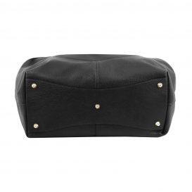 イタリア製CINZIA 柔らかいカーフレザーのショルダーバッグ、ブラック、黒、詳細3