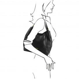 イタリア製CINZIA 柔らかいカーフレザーのショルダーバッグ、ブラック、黒、詳細4