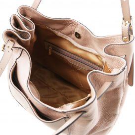 イタリア製アップロード先:柔らかいカーフレザーのショルダーバッグ CINZIA、ヌード、ベージュ、詳細3