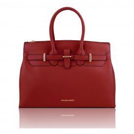 イタリア製ELETTRA ルーガ・カーフレザーのエレガントなハンドバッグ、スムースレザーバッグ、レッド、赤