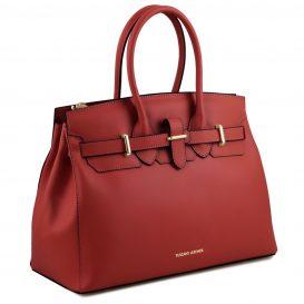 イタリア製ELETTRA ルーガ・カーフレザーのエレガントなハンドバッグ、スムースレザーバッグ、レッド、赤、詳細1