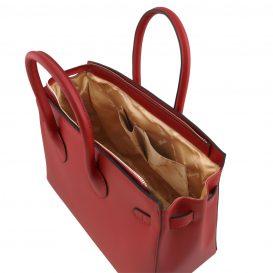 イタリア製ELETTRA ルーガ・カーフレザーのエレガントなハンドバッグ、スムースレザーバッグ、レッド、赤、詳細2