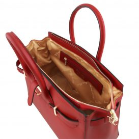 イタリア製ELETTRA ルーガ・カーフレザーのエレガントなハンドバッグ、スムースレザーバッグ、レッド、赤、詳細3