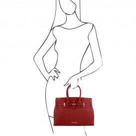 イタリア製ELETTRA ルーガ・カーフレザーのエレガントなハンドバッグ、スムースレザーバッグ、レッド、赤、詳細4