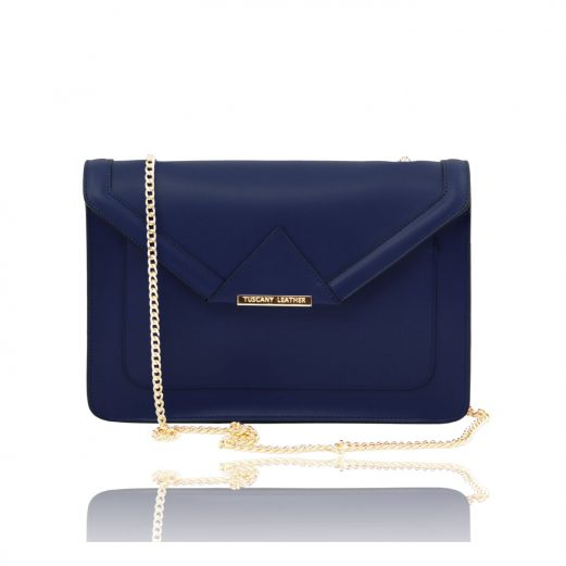 イタリア製カーフレザーのチェーン・ハンドバッグ、ネイビー、ダークブルー、青