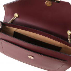 イタリア製ゴールドチェーンのショルダーバッグ IRIDE、ボルドー、詳細2