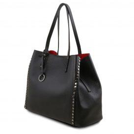 イタリア製スタッズつき柔らかいカーフレザーのトートバッグ TL BAG、ブラック、黒、詳細1