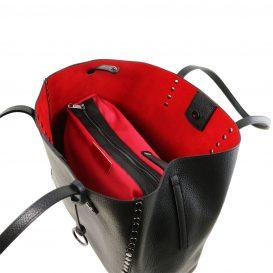 イタリア製スタッズつき柔らかいカーフレザーのトートバッグ TL BAG、ブラック、黒、詳細2