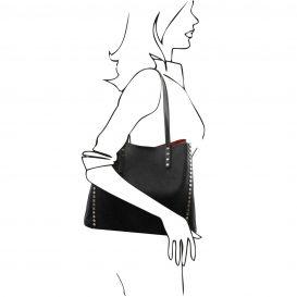 イタリア製スタッズつき柔らかいカーフレザーのトートバッグ TL BAG、ブラック、黒、詳細3