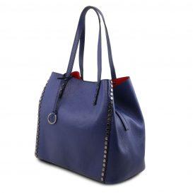 イタリア製スタッズつき柔らかいカーフレザーのトートバッグ TL BAG、ブルー、ネイビー、ダークブルー、青、詳細1