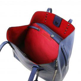 イタリア製スタッズつき柔らかいカーフレザーのトートバッグ TL BAG、ブルー、ネイビー、ダークブルー、青、詳細2