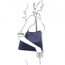 イタリア製スタッズつき柔らかいカーフレザーのトートバッグ TL BAG、ブルー、ネイビー、ダークブルー、青、詳細3