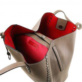 イタリア製スタッズつき柔らかいカーフレザーのトートバッグ TL BAG、ダークトープ、トープ、グレージュ、ベージュグレー、ベージュ、詳細2
