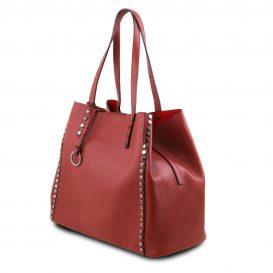 イタリア製スタッズつき柔らかいカーフレザーのトートバッグ TL BAG、レッド、ワインレッド、バーガンディ、赤、詳細1