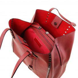 イタリア製スタッズつき柔らかいカーフレザーのトートバッグ TL BAG、レッド、ワインレッド、バーガンディ、赤、詳細2