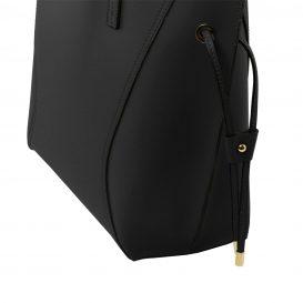 イタリア製NEMESI ルーガ・カーフレザーのショルダーバッグ、ブラック、黒、詳細3