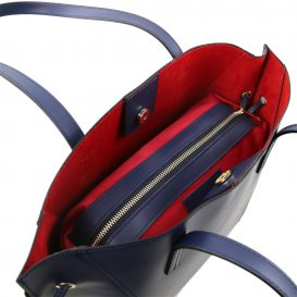 イタリア製NEMESI ルーガ・カーフレザーのショルダーバッグ、ブルー、ダークブルー、青、詳細2