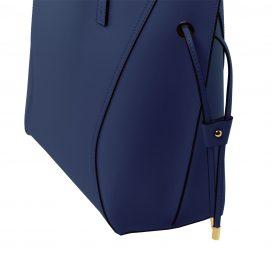 イタリア製NEMESI ルーガ・カーフレザーのショルダーバッグ、ブルー、ダークブルー、青、詳細3
