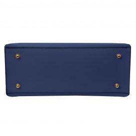 イタリア製NEMESI ルーガ・カーフレザーのショルダーバッグ、ブルー、ダークブルー、青、詳細4