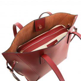 イタリア製NEMESI ルーガ・カーフレザーのショルダーバッグ、レッド、赤、詳細2