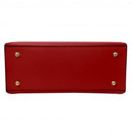イタリア製NEMESI ルーガ・カーフレザーのショルダーバッグ、レッド、赤、詳細4
