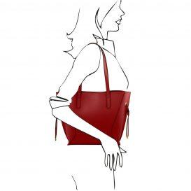 イタリア製NEMESI ルーガ・カーフレザーのショルダーバッグ、レッド、赤、詳細5