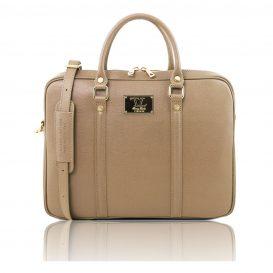 イタリア製サフィアーノレザーのビジネスバッグ PRATO、キャラメル