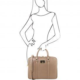 イタリア製サフィアーノレザーのビジネスバッグ PRATO、キャラメル、詳細4