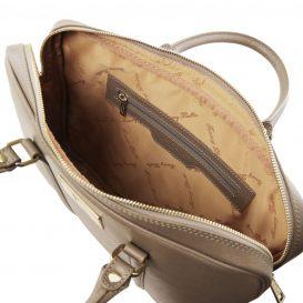 イタリア製サフィアーノレザーのビジネスバッグ PRATO、ダークトープ、詳細2