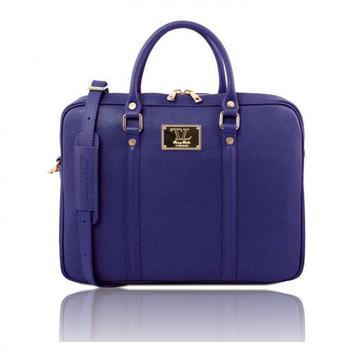イタリア製PRATO サフィアーノレザーのビジネスバッグ、ブルー、ダークブルー、青