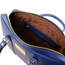 イタリア製PRATO サフィアーノレザーのビジネスバッグ、ブルー、ダークブルー、青、詳細3