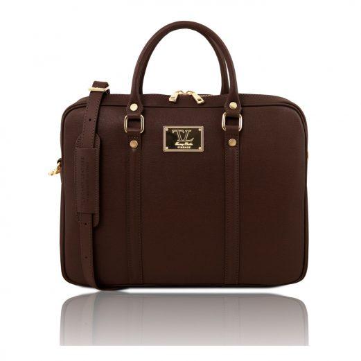 イタリア製PRATO サフィアーノレザーのビジネスバッグ、ラークブラウン、チョコレート、こげ茶