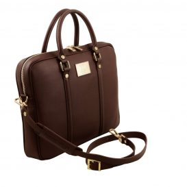 イタリア製PRATO サフィアーノレザーのビジネスバッグ、ダークブラウン、チョコレート、こげ茶、詳細1
