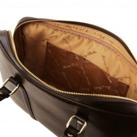 イタリア製PRATO サフィアーノレザーのビジネスバッグ、ダークブラウン、チョコレート、こげ茶、詳細2